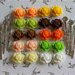 Kit for DIY Create 10 Pairs of Resin Flower Cabochon Bobby Hair Pins