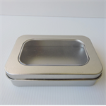 Rectanglular metal tin container - 110mm x 75mm