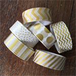 WASHI TAPE  GOLD FOIL DESIGNS 15MM X 5M - 6 ROLL SET FREE POST