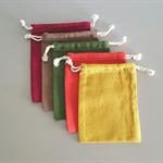 Small Linen/Cotton Drawstring Bag AUTUMN TONES