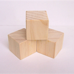 WOODEN BLOCKS 4.2cm Pine Blocks, Toymaking Set of 3, Rounded Edges