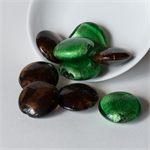 Silver Foil Lined Coin Beads in Green and Brown – 27x10 millimetres