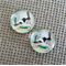 2 x Round BIRDS Glass Cabochons 20mm x 20mm