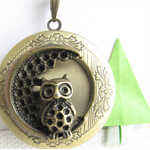 Owl and Moon Locket Pendant (without chain)