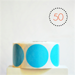 Blue Circle Stickers {50} Large 50mm | Gift Envelope Seals DIY Supplies Events