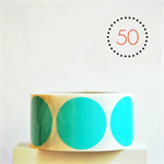 Aqua Circle Stickers {50} Large 50mm | Gift Envelope Seals DIY Supplies Events