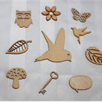 10 pack mixed wooden embellishments