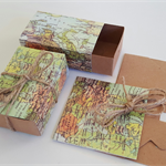 10 World Map Kraft Boxes 7.6 x 5 x 3cm Twine included