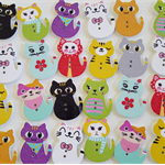 10 Cat Buttons Wood 30 x 21mm