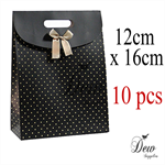 10x Gift bags black polka dot
