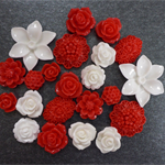 22 Red and White Mixed Flower Resin Cabochon Flatback DIY craft earrings
