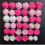 36 Pink and White Mixed Flower Resin Cabochon Flatback DIY Craft or Earrings