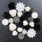 26 White, Black, Grey, Cream Mixed Flower Resin Cabochon Flatback Embellishments