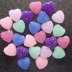 24 Resin Heart Cabochon Embellishments Flatback - Purple Mint Blue Pink