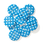 10 Blue & White Round spotted Buttons