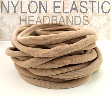 10 Nylon Headbands Stretch Elastic 8mm Thin One Size Fits All 