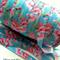Aqua Pink Floral - Fold Over Elastic- FOE-  2 metres- Foldover Print Elastic
