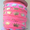 "1m Pink Princess Silver Crown FOE 5/8"" 6mm  Foldover Elastic Headbands Hair ties"