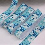 Blue Floral - Fold Over Elastic- FOE-  2 metres Foldover Print Elastic