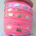 """1m Pink Princess Silver Crown FOE 5/8"""" 6mm  Foldover Elastic Headbands Hair ties"""