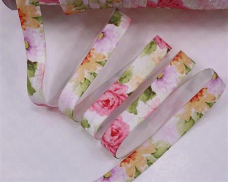 Pink Rose Floral - Fold Over Elastic- FOE-  2 metres- Foldover Print Elastic