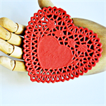 🔴Paper Heart {20} Doilies French Lace {105mm} Embossed Vintage Red