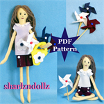 Moria and the Pinwheels Felt Doll plus dolls clothes PDF Pattern