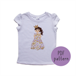 Princess Kate with glitter crown - Appliqué pattern - PDF