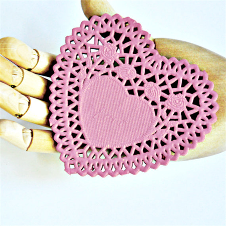 PInk Paper Heart {20} Doilies French Lace {105mm} Embossed Vintage Style