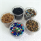 5 pots of seed beads- Golds, Black and Multi-coloured