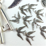 Charms, Birds and Keys Findings Pack - Silver Plated