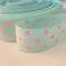 "2 Yards Mint Green Pink Polka Dot Grosgrain Ribbon 7/8"" 22mm FREE POSTAGE"