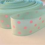 "2 Yards Mint Green Pink Polka Dot Grosgrain Ribbon 7/8"" 22mm FREE POSTAGE"