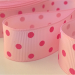 "2 Yards Pink Polka Dot Grosgrain Ribbon 7/8"" 22mm FREE POSTAGE"