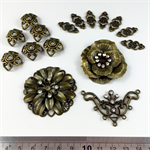 Connectors and Bails Findings Pack - Antique Gold