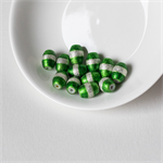 Emerald Green and Silver Barrel Beads – 10x8 millimetres