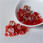 Assorted Glass and Plastic Beads in Fire Engine Red