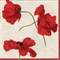 3 Paper Napkins for Decoupage Ivory Poppies