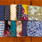 120 Cotton Fabric Squares - Blues and Yellow