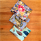3 x Fat Quarters of Fabric - Blue florals and feathers