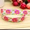 Pink Floral - Fold Over Elastic- FOE-  2 metres- Foldover Print Elastic-