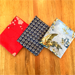 3 x Fat Quarters of Fabric - Blues and Red