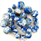 Handmade polymer clay beads - blue and white