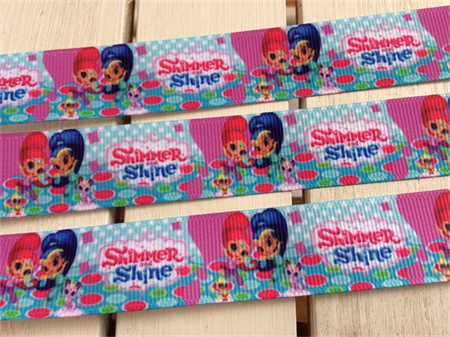 """2 Yards Shimmer and Shine Grosgrain Ribbon Hairbow Cake 7/8"""" 22mm FREE POSTAGE"""