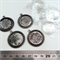 Altered art settings with glass cabochons - silver plated