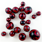Handmade polymer clay beads - black and red