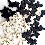 Howlite cross beads- black and cream