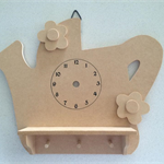 Teapot Clock Face Blank Cutout with Shelf and Key Hooks