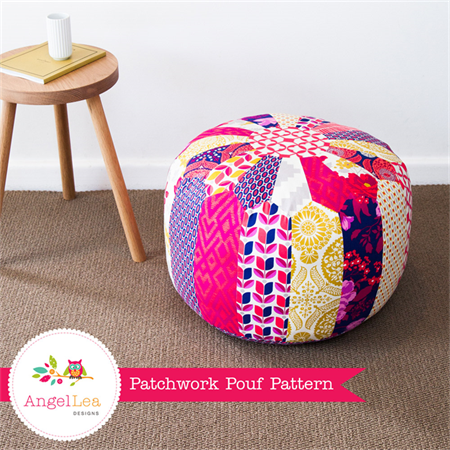 Patchwork Pouf PDF Sewing Pattern Moroccan Style Ottoman Pattern