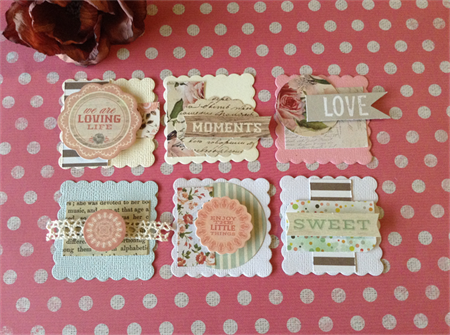 6 x Scalloped Square Embellishments - Shabby